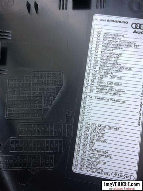 Audi A6 Rear Fuse Box by Audi A6 C6 Fuse Box Diagrams Schemes Imgvehicle