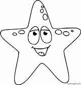 Starfish Coloring Cartoon Easy sketch template