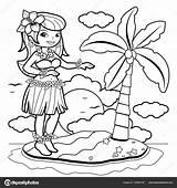 Coloring Hawaiian Hula Island Dancer Woman Illustration Hawaii Alamy Dancing Vector Stockakia Depositphotos sketch template