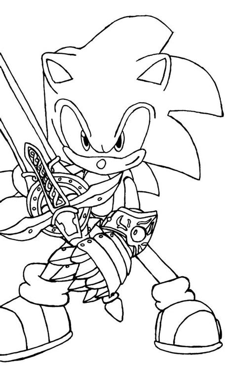 sonic  hedgehog  sword coloring page kids play color