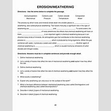 Weathering And Erosion Worksheets  Weathering And Erosion, Textbook Worksheet  Education Items