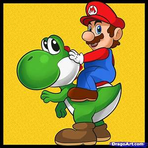 How to Draw Mario and Yoshi, Step by Step, Video Game ...