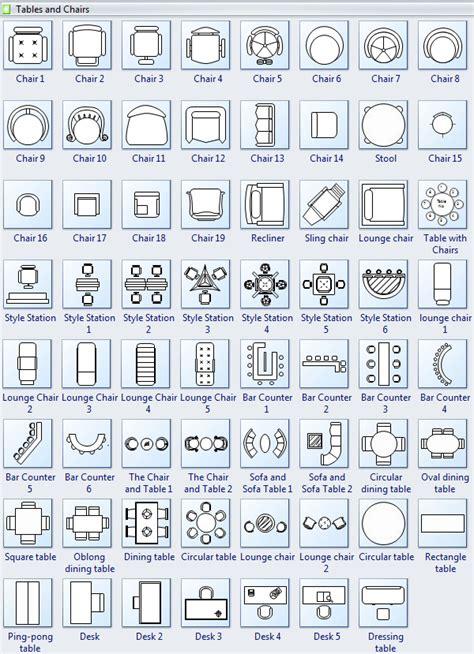 symbols  floor plan tables  chairs