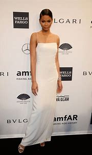 Chanel Iman in a Calvin Klein creation at the 2014 amfAR ...