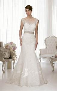 a line sash lace wedding dress with illusion cap sleeves With a line cap sleeve wedding dress