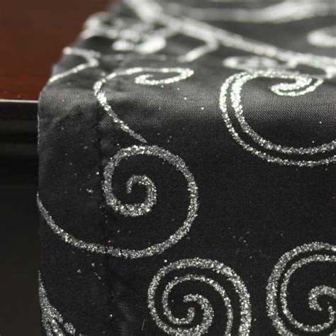 silver glitter table runner black with silver glitter swirls satin table runner