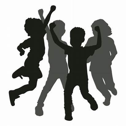 Silhouette Children Fun Having Playing Dancing Clipart