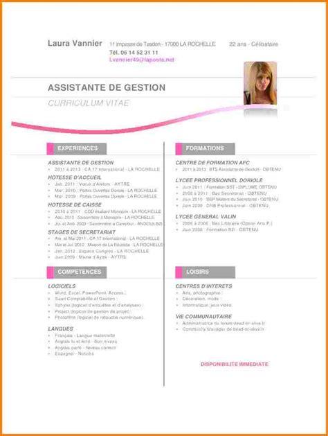 De Cv by Cv Gratuit Hotesse D Accueil