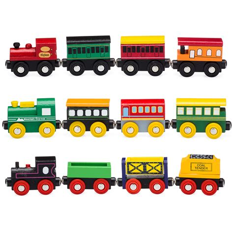 playbees  piece wooden toy train cars engine set