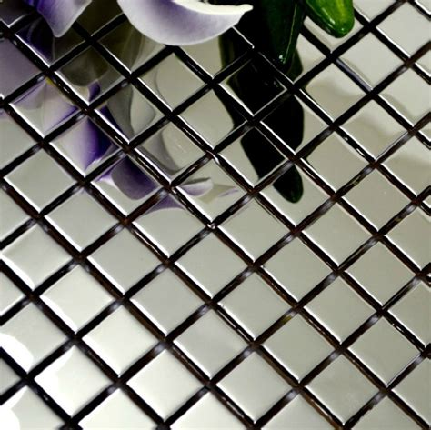Polished Silver Metal Mosaic Tile Smmt018 Square Stainless