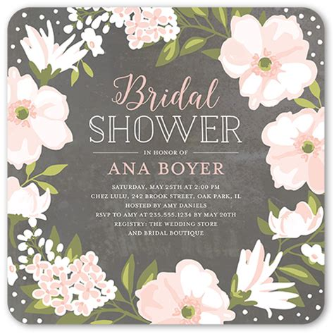 Wedding Shower Invite - beautiful bouquet 5x5 stationery bridal shower invitations