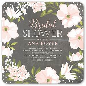 Beautiful bouquet 5x5 stationery bridal shower invitations for Wedding shower announcements