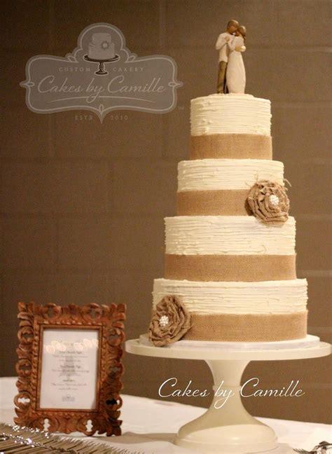 rustic vintage burlap wedding cake handmade burlap ruffle