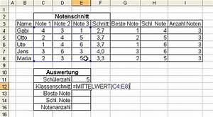Notendurchschnitt Berechnen Online : excel notenauswertung online im s l z ~ Themetempest.com Abrechnung