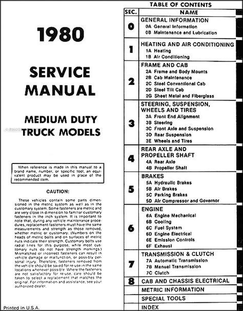 1980 Chevy Wiring by 1980 1981 Chevrolet Medium And Heavy Truck Service Manual Cd