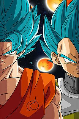 dragon ball super poster goku vegeta god blue inches