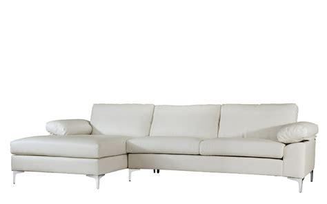 plush chaise lounge chair white 2 amanda modern faux leather large sectional sofa