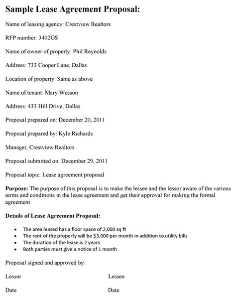 lease agreement proposal template