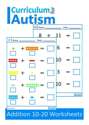 addition 10 20 worksheets autism special education autism helpers special education