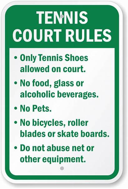 Tennis Rules Court Sign Signs Glass Allowed