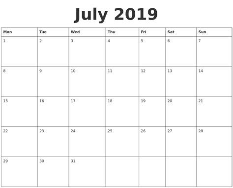 july blank calendar template