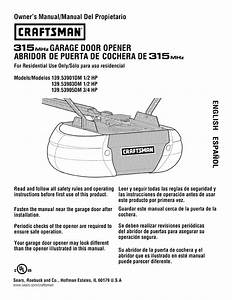 Craftsman 13953901dm User Manual Garage Door Opener