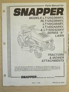 1994 Snapper Riding Lawn Mower Parts Manual  Manual No
