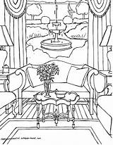 Coloring Interior Adults Sheets Living Printable Adult Rooms Colouring Drawings Point Getcolorings Coloriages Perspective Gonsowski Fred Interiors Grown sketch template