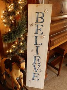 Distressed, Vertical, Blue, And, White, Believe, Sign, With, White, Glittered, Snowflakes