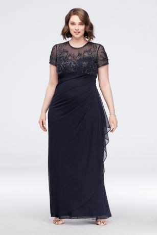 Beaded Illusion Short Sleeve Plus Size Sheath Gown   David ...