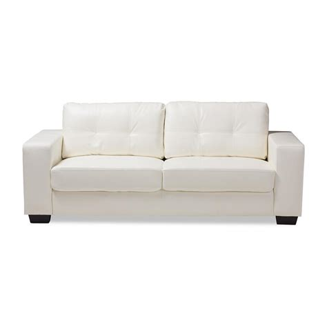 White Faux Leather Loveseat by Baxton Studio Adalynn White Faux Leather Sofa 146 8352 Hd