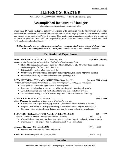 cuisine am駭ager professional experience for accomplidhed restaurant manager resume sles