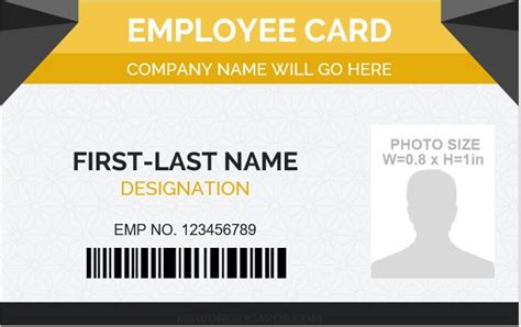 employee id card formats  ms word word
