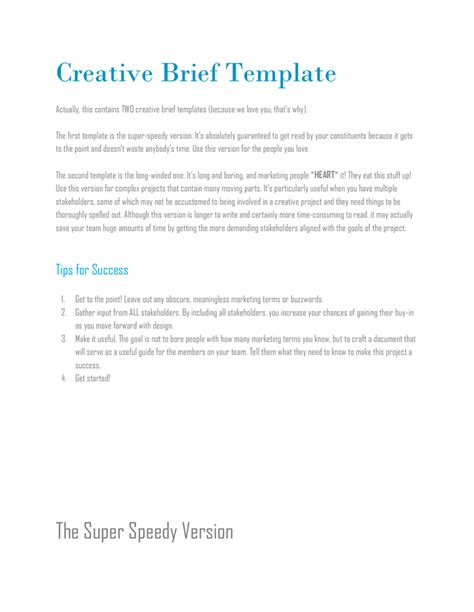 Creative Brief Template Creative Brief Template In Word And Pdf Formats