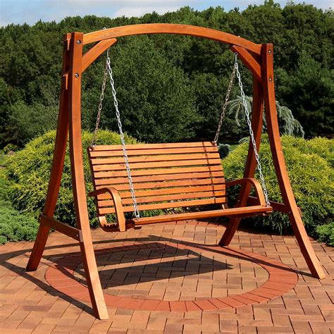 Wooden Porch Swings by Sunnydaze Decor Deluxe 65 In 2 Person Wooden Porch Swing
