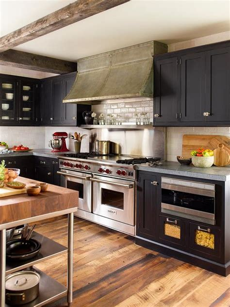 Black Kitchen Cabinets With Ivory Crackle Subway Tiles