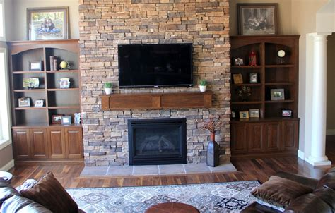 Hand Crafted Builtin Bookcases And Fireplace Mantle By