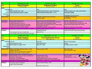 Sample Itinerary For Disney World
