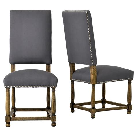charles french country grey linen high  dining room
