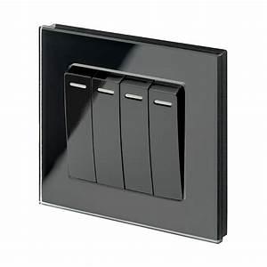 Retrotouch Black Light Switch  4 Gang  Plain