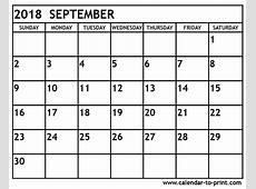 September 2018 Calendar calendar month printable