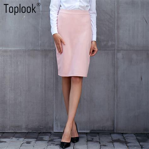 Toplook Vintage Pink Women Pencil Skirt 2017 High Waist