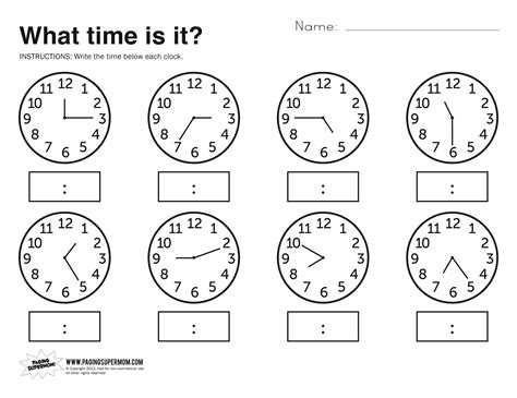 what time is it printable worksheet kolbie