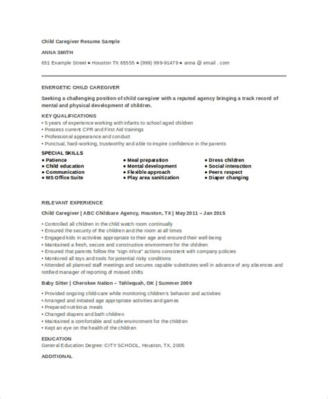 Caregiver Resume by Caregiver Resume Exle 7 Free Word Pdf Documents