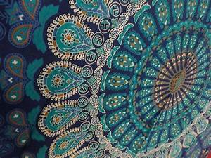 Indian mandala tapestry hippie wall hanging blue bohemian