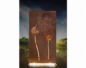 sichtschutzwand pusteblume 94 x 185 cm anthrazit rost bei With französischer balkon mit garten rost