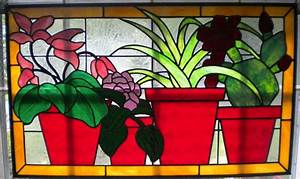 Stained glass panel of clay flower pots Horizontal window