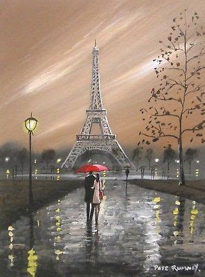 pete rumney art original canvas painting paris love eiffel