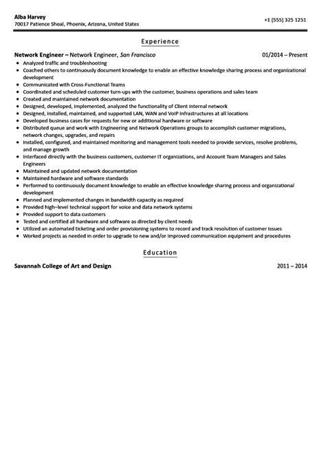 network engineer resume sle velvet