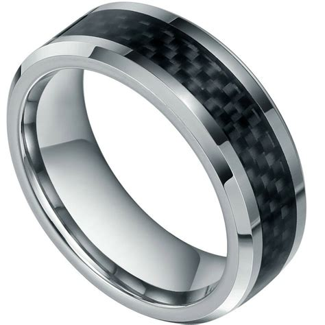 8mm new mens black carbon fiber tungsten carbide engagement ring wedding band ebay
